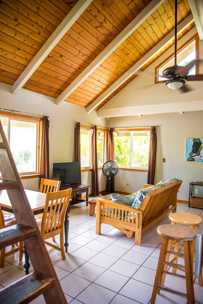 Living Room, Bright, Clean, Airy Rocky Point Beach 1 Bedroom Loft. Steps to Beach & Bike Path