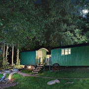 Anne's Hut Offers a Romantic Retreat for two in two Interlinked Shepherd's Huts With Decking Area an