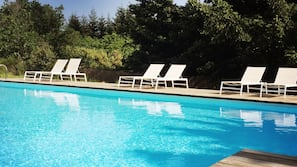 Seasonal outdoor pool, open 9:00 AM to 8:00 PM, pool loungers