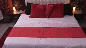 Hypo-allergenic bedding, down comforters, in-room safe