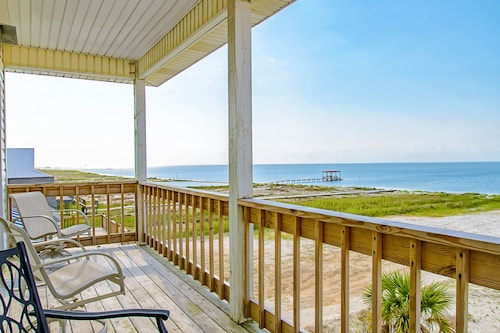 Charming Beach-front Home With Spacious Wrap-around Porch, Private Deck