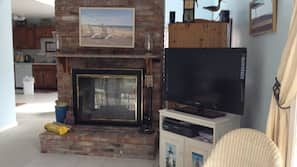 TV, fireplace, DVD player, toys