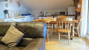 Fridge, microwave, dishwasher, high chair