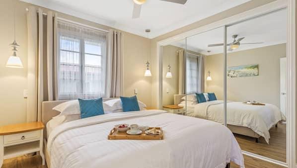 3 bedrooms, desk, laptop workspace, iron/ironing board