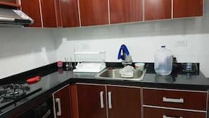 Fridge, oven, hob, cookware/dishes/utensils