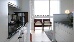 Microwave, stovetop, dishwasher, coffee/tea maker