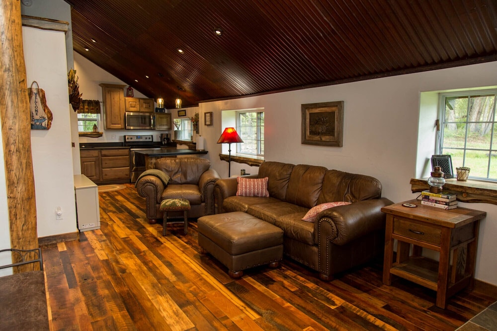 Living Room, Gorgeous Newly Remodeled Log Cabin at Tiny Timbers Resort!