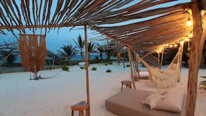 Private beach, white sand, free beach cabanas, sun loungers