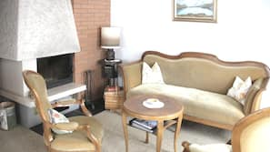 Fireplace, video-game console, DVD player