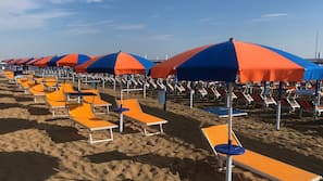 Private beach nearby, white sand, sun-loungers, beach umbrellas