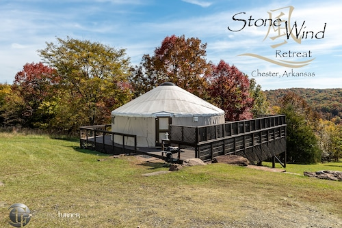 Deluxe Mountain Yurts With Hot Tubs Close to Fayetteville, Razorback Stadium