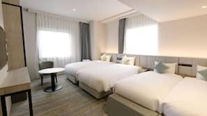 Premium bedding, down comforters, blackout drapes, free WiFi