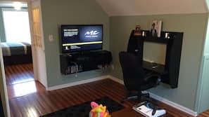 Flat-screen TV, video library