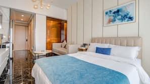 Pillow top beds, desk, blackout curtains, free WiFi