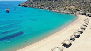 Private beach, beach cabanas, sun loungers, beach towels