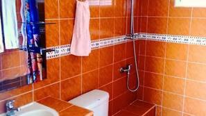 Shower, rainfall showerhead, free toiletries, towels