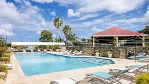 2 outdoor pools, open 9:00 AM to 7:00 PM, pool umbrellas, sun loungers