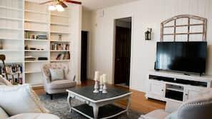TV, fireplace, foosball, table tennis table