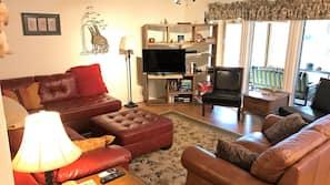 TV, DVD player, books