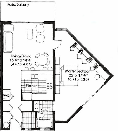 Floor plan, Rum and Kai - Beach Front 1 Bedroom - Rum Point, Grand Cayman