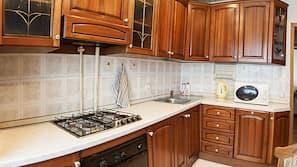 Fridge, microwave, electric kettle