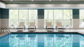 Indoor pool, open 8:00 AM to 10:00 PM, pool umbrellas, sun loungers