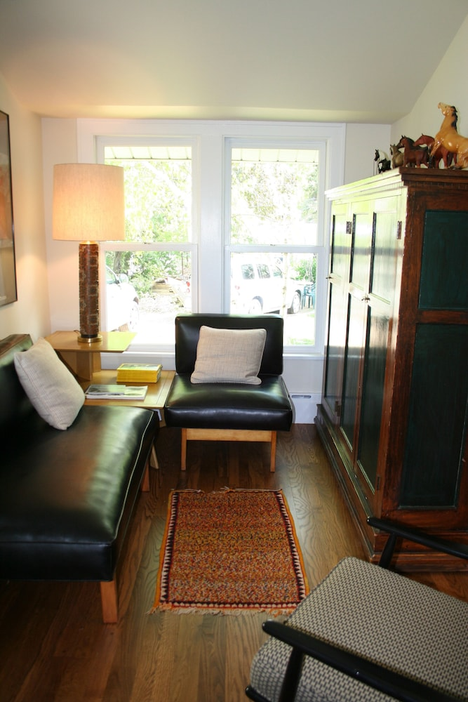 Living Room, Charming Bead-board Cottage in Historic Excelsior on Lake Minnetonka