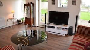 Flat-screen TV, DVD player, books