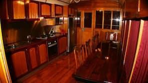 Fridge, microwave, oven, hob