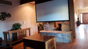 Smart TV, fireplace, DVD player, ping pong table