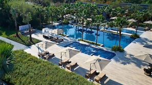 2 outdoor pools, open 8:00 AM to 9:00 PM, pool umbrellas, sun loungers