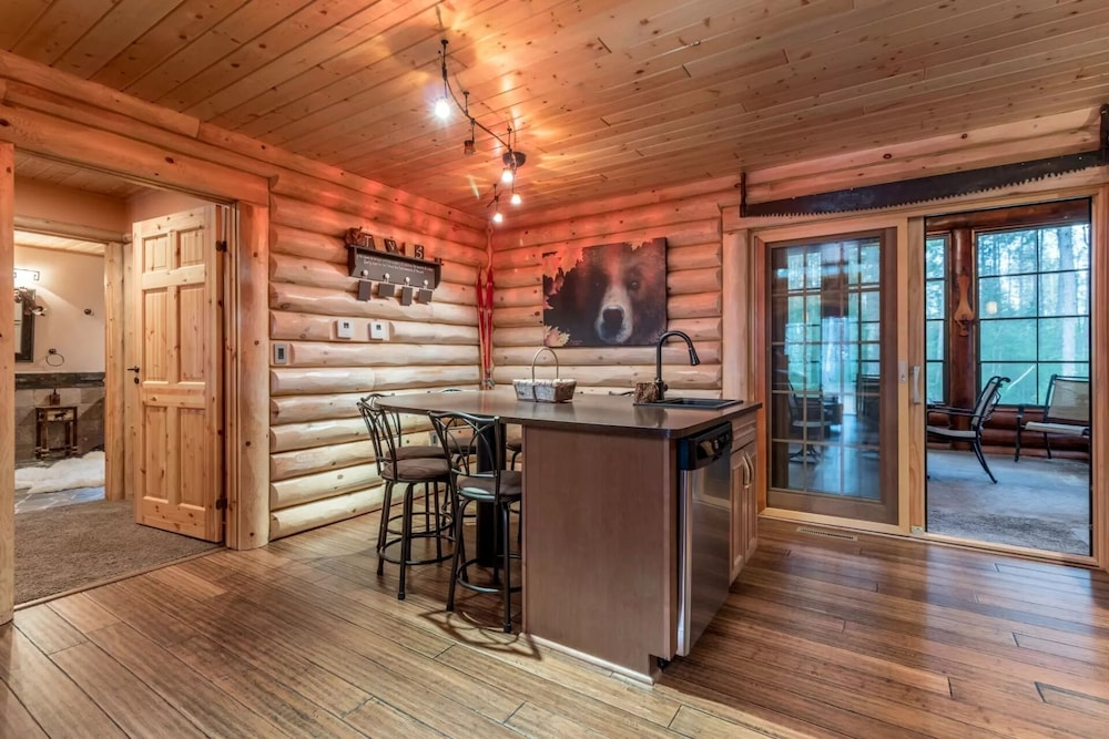 Private Kitchen, Northwood's Custom Log & Stone Masterpiece on Over 6 Secluded Acres