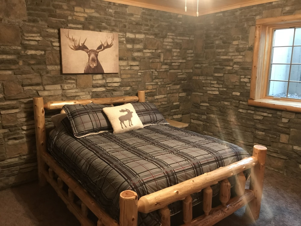 Room, Northwood's Custom Log & Stone Masterpiece on Over 6 Secluded Acres