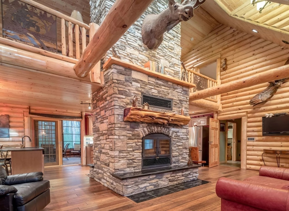 Living Room, Northwood's Custom Log & Stone Masterpiece on Over 6 Secluded Acres