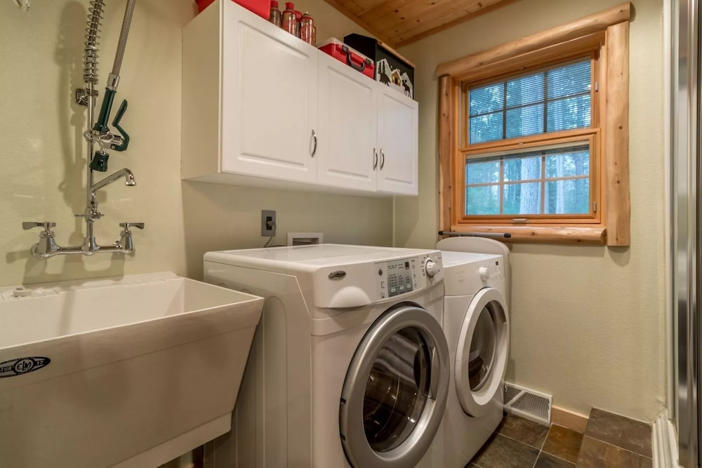 Laundry Room, Northwood's Custom Log & Stone Masterpiece on Over 6 Secluded Acres