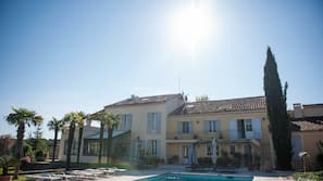 Outdoor pool, open 8:30 AM to 8:30 PM, pool umbrellas, sun loungers