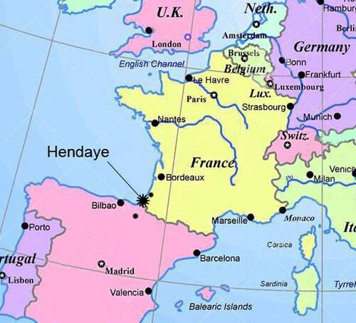 Hendaye France Map.Sunny Family Apart Close To Beach Bordering Spain Pool Terrace