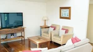 LCD TV, fireplace, DVD player, MP3 docking station