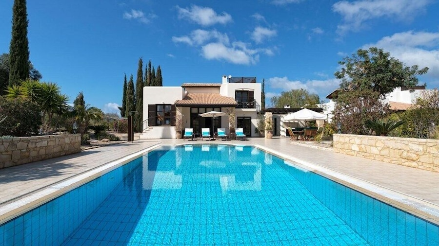 Three bedroom Villa Anassa (31) with private pool and golf course views. Walking distance to resort village square on Aphrodite Hills Resort