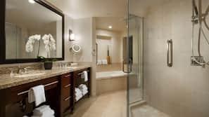 Bathtub, hair dryer, towels, soap