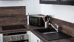 Fridge, microwave, hob, espresso maker