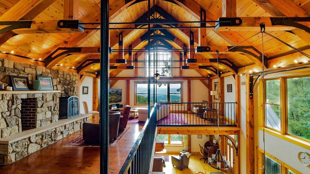 Luxury Timber Frame Mountaintop Lodge Stunning Views 5