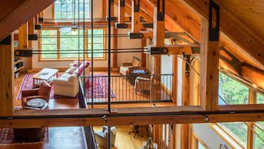 Luxury Timber Frame Mountaintop Lodge, Stunning Views, 5 Suites, Chefs Kitchen