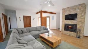 LED TV, fireplace, DVD player