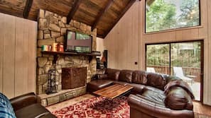 TV, fireplace, foosball, books