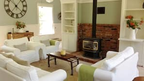 Fireplace, books, music library, stereo