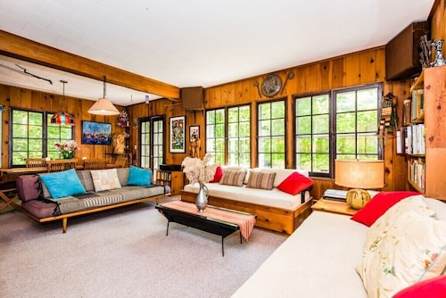 Forested Hilltop Home Perched Above Lake Michigan With Private Beach!