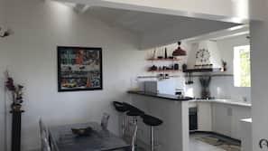 Fridge, microwave, oven, coffee/tea maker