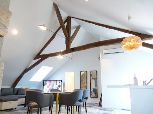 Le Manlie : Loft in 1700`s Historic Apt, Heart of Old Town Amboise - A/C
