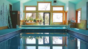 Indoor pool, open 8:00 AM to 9:00 PM, sun loungers